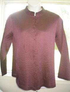 Sz 1X Eileen Fisher Shirt Jacket Ridged Silk Purple Mandarin Collar Incredible | eBay