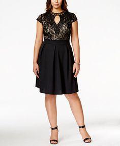 Trixxi Plus Size Short-Sleeve Lace A-Line Skater Dress