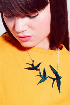 Swallow Triple Necklace - turquoise mirror