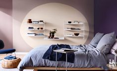 11 Creative Color-Blocked Accent Wall Ideas to Try Best Paint Colors, Interior Paint Colors, Interior Design, Bedroom Wall Colors, Small Room Bedroom, Bedroom Ideas, Awesome Bedrooms, Cool Rooms, Relaxation Room