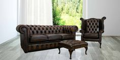 A leather Chesterfield suite comprising a 3 seater settee with matching high back wing chair & footstool. Manufactured in the UK with a free 12 month guarantee