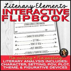 Literary Elements Analysis Interactive Notebook Flipbook for Any Novel Literary Elements, Story Elements, School Resources, Teacher Resources, Secondary Teacher, Middle School English, Fiction And Nonfiction, Reading Strategies, Interactive Notebooks