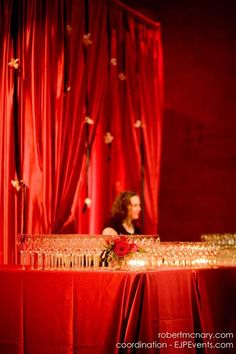 Love the idea of a backdrop behind each bar set up - event bar at Portland Art Museum   EJP Events with Royce's Prop Shop, @Geranium Flowers. photo Robert McNary