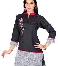Buy Black and off white  machine work remi linen and chanderi tunic kurtas-and-kurti online