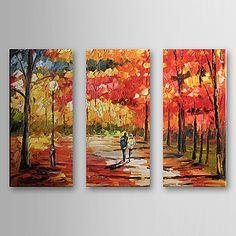 Pintado a mano la pintura al óleo del paisaje con el marco de estirado Juego de 3 1308-LS0585 – USD $ 87.99