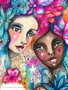 Life Book - Week 9 - Bonus: Flowers of Gratitude & Celebration with Tamara Laporte - willowing & friends Kunstjournal Inspiration, Art Journal Inspiration, Art And Illustration, Mixed Media Art, Mix Media, Art Journal Pages, Whimsical Art, Portrait Art, Face Art