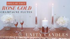 Learn how to make GLAM DIY wedding champagne flutes and unity candles with items from Dollar Tree. These beautiful Rose Gold wedding essent. Tree Wedding Centerpieces, Wedding Unity Candles, Gold Wedding Decorations, Wedding Ideas, Wedding Gifts, Wedding Champagne Flutes, Gold Champagne, Dollar Tree Wedding, Rose Candle