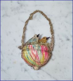 """Antique Birds In Nest, """"End of Day """" Christmas Ornament. German Christmas Ornaments, Christmas Bird, Bird Ornaments, Christmas Past, Christmas Items, Christmas Wrapping, Christmas Holidays, Vintage Candy, Glass Birds"""