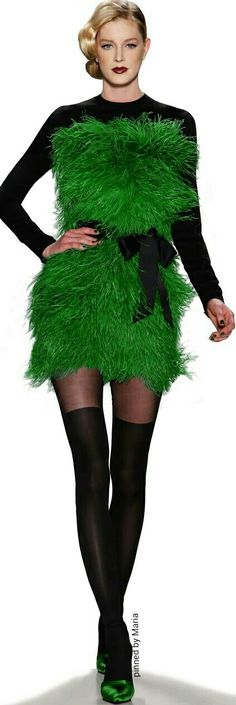 Zang Toi Dress green fur fantasy fashion weird style #UNIQUE_WOMENS_FASHION