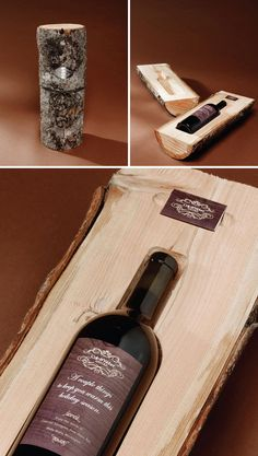 Check out this packaging. It's CNC'd out log from Cole & Weber United. They call it the Holiday Log and it's the alternative to the clutter of all the boring corporate cards that get sent out. To make these, they took logs of fresh pine and milled them to perfectly fit a wine bottle and sent them with a box of customized paired matches. #design #packaging #machined #milled #CNC #natural #graphic #shipping #creative