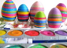 embroidery thread wrapped eggs...#craft #diy
