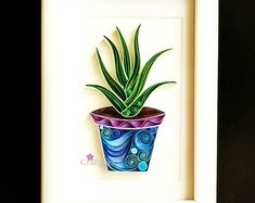 Items similar to Aloe vera Plant Artwork - Paper Art - Framed Wall / Table Decor - Aloe you very much - Christmas gifts on Etsy Arte Quilling, Paper Quilling Flowers, Paper Quilling Patterns, Quilled Paper Art, Quilling Paper Craft, Origami Flowers, Succulent Wall Art, Cactus Wall Art, Succulent Planters