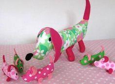 Patroon of zelfmaakpakket knuffel hond met puppies - Hobby.blogo.nl