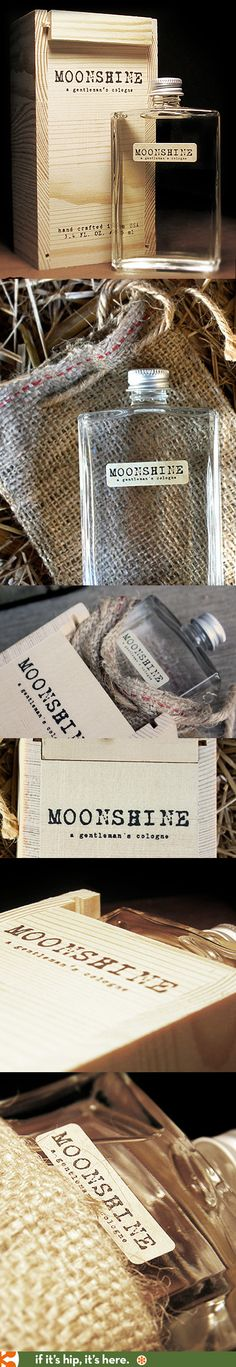 The wooden box and burlap sack packaging for Moonshine Cologne for men.