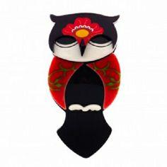 Erstwilder Oksana owl brooch - hardtofind.
