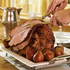 Basting this ham with peach preserves and mustard creates a glistening entrée that tastes as good as it looks.