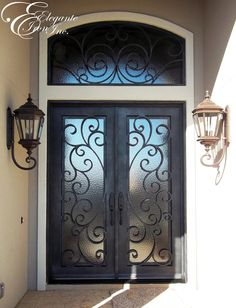 Custom wrought iron door with eyebrow arch transom. Double Front Entry Doors, Iron Front Door, Iron Doors, Home Design Decor, Door Design, House Design, Wrought Iron Decor, Main Door, Entrance Doors