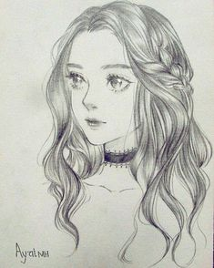 Pin by juliana on drawings /anime in 2019 ζωγραφική, τέχνη. Face Sketch, Girly Drawings, Anime Drawings Sketches, Pencil Art Drawings, Cool Drawings, Sketches Of Girls Faces, Beautiful Drawings, Hair Art, Art Sketchbook