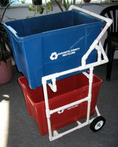 Since we are getting a new recycling co. and two bins, I am making this to save space on my back porch. Pvc Recycling, Diy Recycle, Outdoor Projects, Small Projects Ideas, Pvc Pipe Projects, Diy Projects, House Projects, Project Ideas, Garage Storage