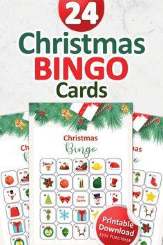 Christmas Bingo Cards, Printable Christmas Games, Fun Christmas Games, Christmas In July, Bingo Holiday, Bingo Set, Bingo Games, Calling Cards, Printable Designs
