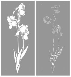 Large Iris Theme Pack Beautiful Iris flower stencils. 2 x 2 sheet designer stencils Iris Stencils 1 & 2 - beautiful, elegant designer Iris Stencils based on Henny's detailed Bearded Iris drawings. Bring modern botanical and floral design touches to your interior decorating. Ideal for panels,