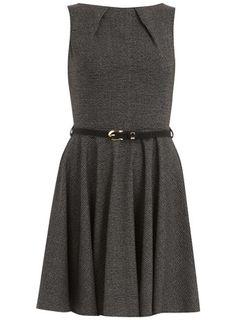 Black tweed flared dress