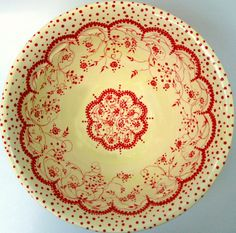 Vintage delight bowl, red on cream transferware with polka dots. So cheery.