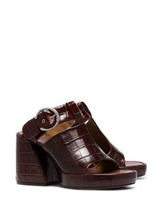 ae52b49aa413 Chloé brown Wave 65 croc effect mules  880 - Buy Online - Mobile Friendly