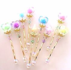 Cute idea to do with hair pins Vintage shabby chic home decor Pastel unicorn color pink blue light violet green mint beautiful colorful kawaii things objects cute orange yellow