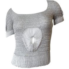 Preowned Loris Azzaro 1970s Chainmail Lurex Silver Top ($625) ❤ liked on Polyvore featuring tops, blouses, silver, sleeve top, silver chainmail top, lurex top, keyhole top and chain mail top