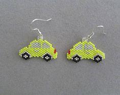 Yellow Beaded Motorcycle Earrings