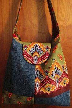 Re-purposed Denim & Fabric Purse Embellished with Hand-Set Swarovski Rhinestones
