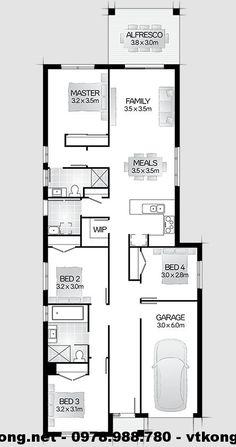 Mặt bằng biệt thự 1 tầng hiện đại NETBT1T19 My House, Floor Plans, Car Garage, Floor Plan Drawing, House Floor Plans, Carriage House