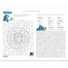 University Activity Page This boredom-busting printable features a fun maze and word find, perfect for any Monsters University fan.This boredom-busting printable features a fun maze and word find, perfect for any Monsters University fan. Monster University Crafts, Monster University Birthday, Monsters Inc University, Monster Inc Party, Monster Birthday Parties, Birthday Ideas, 5th Birthday, Disney Activities, Disney Games