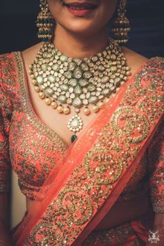 Beautiful kundan and pearl beads necklace for an Indian bride. See more on wedmegood.com  #wedmegood #indianwedding #indianbride #jewellery #necklace #choker #chokernecklaces #jewelry #jewelrynecklaces #portrait #kundan #polki