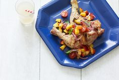 Grilled Chicken Legs with Peach Salsa - This juicy, sweet salsa perfectly complements smoky grilled chicken. Kick off your Memorial Day weekend whether you're on H-Burn (omit tomatoes), Phase 1 (no oil, use skinless breast), and Phase 3. Sub about 10 drops of stevia for the honey.