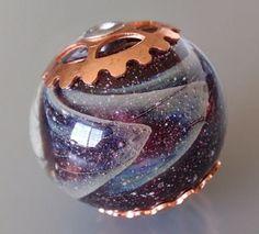 Capped Handmade Glass Lampwork Focal Bead - Galaxy in Purple, by Jayne LeRette, BadgerBeads