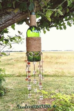 Suspension ext June 2017 - Suspension ext June 2017 Best Picture For decorations party For Your Taste You are looking for so - Wine Bottle Chimes, Glass Bottle Crafts, Wine Bottle Art, Diy Bottle, Glass Bottles, Wine Bottles, Wine Glass, Carillons Diy, Diy Wind Chimes
