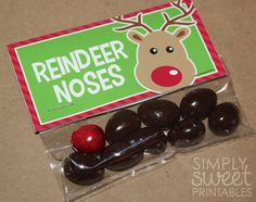 Reindeer Noses DIY Printable Treat Bag Topper (pdf FILE ONLY) - Christmas - Stocking Stuffer. $4.00, via Etsy.