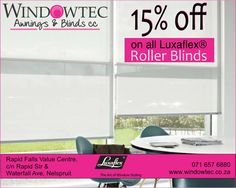 Windowtec sells interior blinds, exterior blinds, fabric awnings & shutters in Nelspruit, Mpumalanga. We are a Luxaflex® Gallery Store located at Riverside Industrial Park, Nelspruit. Exterior Blinds, Fabric Awning, Light Filter, Window Styles, Roller Blinds, Natural Light, Shutters, Amazing, Interior