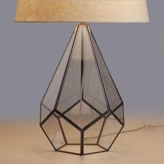 Cost Plus World Market Glass Terrarium Table Lamp Base Geometric Lamp, Table Lamp Base, Table Lamp, Glass Terrarium, Table Top Lamps, Terrarium Table, Lamp Bases, Glass Lamp, Modern Lamp