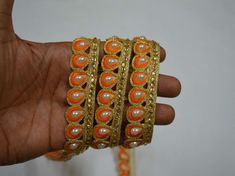 Wholesale Orange Indian Laces Saree Border Gold Kundan Lace Stone Work Border By 9 Yard Gold Gota Patti Glass Bead Work Embellishment Border You can purchase from What's App no. is also take wholesale enquiries. Lace Saree, Sari, Diy Belts, Saree Border, Decorative Trim, Beaded Trim, Stone Work, Wedding Wear, Craft Work