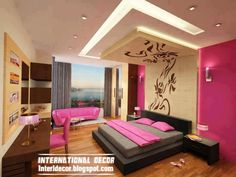 contemporary bedroom design ideas with new ceiling design and pink paint scheme