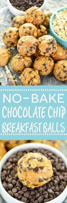 No-Bake Chocolate Chip Breakfast Balls - great for quick breakfasts for busy mornings and great for snacking! From the Easy Gluten Free cookbook. | @whattheforkblog | whattheforkfoodblog.com | gluten free breakfast recipes | gluten free snacks | no-bake r