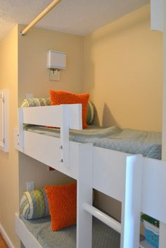 Narrow condo. Kind of like an efficiency floorplan-begins with LR, ends with master. Turn Hall closet into Bunk beds.