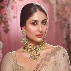 Gold Choker Necklaces for Women - View our collection and buy Online Indian gold choker necklaces for women, made in India - Ships from New Jersey USA - Indian Gold Jewelry - Buy Online Kareena Kapoor Saree, Sonakshi Sinha, Deepika Padukone, Bridal Jewelry, Gold Jewelry, Bollywood Jewelry, Gold Choker Necklace, Earrings, Necklace Designs