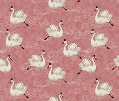 Valentine Swans (in Rose) fabric by nouveau_bohemian on Spoonflower - custom fabric