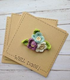Crochet Flower Bouquet Brooch Card, gift and card idea for graduates, by The Little Lancashire Smallholding on Folksy, £4.99