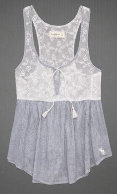 Sheer mesh top with pretty floral embroidery, keyhole detail at neckline with tie closure, classic striped pattern, moose embroidery near scoop hem, Easy Fit, Imported (Created to Ambercombie & Fitch Website)