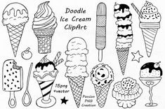 Doodle Ice Cream ClipArt, Digital Ice Cream, Hand drawn Ice Cream, PNG, EPS, AI, Vector, line art, For Personal and Commercial use